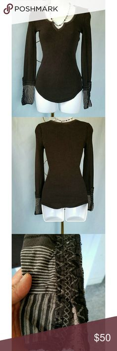 "20% Off Bundles FP BLACK KYOTO CUFF THERMAL FREE PEOPLE KYOTO CUFF THERMAL EUC Black very gently used.  Fitted thermal with detailed cuff and slit at neckline. Cuff is embellished with embroidery and crochet detail. Armpit to armpit 14"" and length from shoulder to hem is 24"". All measurements are approximate and taken flat. Free People Tops Tees - Long Sleeve"