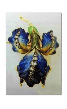 Eugene Feuillatre Brooch with Orchid watch, 18K yellow gold, diamonds and colored email, signed work.