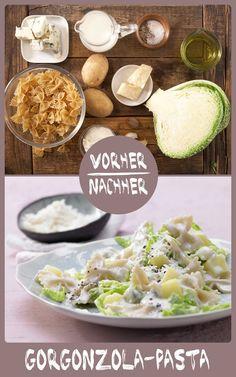 http://eatsmarter.de/rezepte/gorgonzola-pasta Gorgonzola und Wirsing sind eine super Kombi und passen zu Pasta.