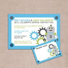 Robot birthday invite invitation and thank you DIY printable