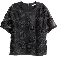 H&M Blouse with chiffon flowers (61 CAD) ❤ liked on Polyvore featuring tops, blouses, black, embroidered top, short tops, black chiffon blouse, h&m blouse and black chiffon top