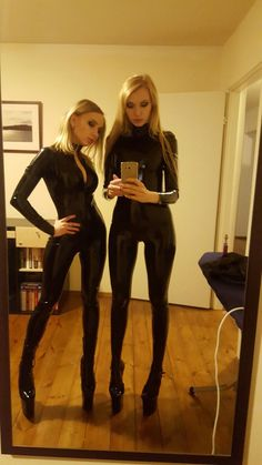 Tight Latex Catsuit - High Heels