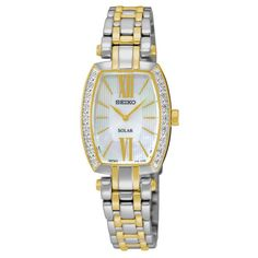 Seiko SUP284 Women's Watch Diamond Accented Bezel Tonneau Two-Tone Stainless…