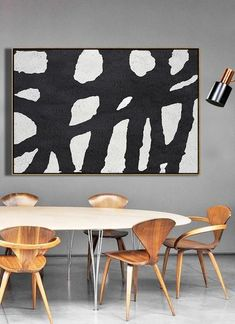CZ Art Design - Hand-painted Horizontal Minimal Art #MN1C, oversized black and white minimalist painting on canvas. For neutral interiors and minimalist home.