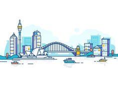 Sydney by Dmitrij for Fireart Studio on Dribbble Web Design Mobile, Design Ios, Vector Design, Icon Design, Vector Art, Branding Design, Graphic Design, Flat Design, Site Design