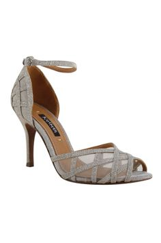 MEENKA - Platinum from REMAC. Elegance that is easy to wear in this covered heel ankle strap open toe sandal. Rich dance fabric with just the right amount of sparkle and shine for that special occasion. $155