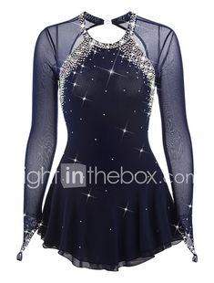 Figure Skating Dress Women's Girls' Ice Skating Dress Dark Blue Spandex Rhinestone High Elasticity Performance Skating Wear Handmade 2017 - $99.99