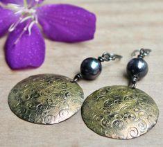 Copper earrings Copper jewelry Rustic copper earrings