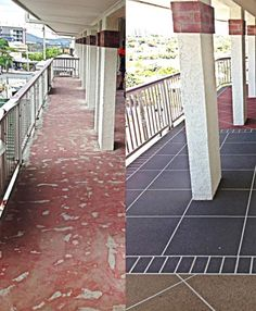 Concrete resurfacing is available in a wide range of colours, designs, and textures, to suit any type of décor. Some options include sandstone, granite, brick, and paved finishes. Multiple colours can be used in order to provide an aged look, or you can even recreate the look of stamped concrete. Borders are often done in a different colour or pattern in order to bring highlights to the concrete. The work is sealed to ensure that the finish is water resistant and durable.