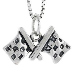 Sterling Silver Car Racing Checkered Flags Pendant Charm 925 (Pendant ONLY)