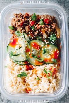 Korean Beef Meal Prep Bowls   Destination Delish - Your new favorite lunch: Korean ground beef paired with crisp and tangy cucumbers served on a bed of rice. Less than 20 minutes in the kitchen yields a week of lunches!