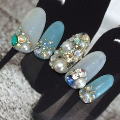 Pin by Monbebe on Makeup Asian Nail Art, Asian Nails, Korean Nail Art, Nail Swag, Glam Nails, Beauty Nails, Chistmas Nails, Unicorn Nail Art, Stone Nail Art