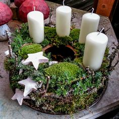 Various green - Christmas Decorations Christmas Advent Wreath, Xmas Wreaths, Christmas Candles, Outdoor Christmas Decorations, Christmas Centerpieces, Rustic Christmas, Winter Christmas, All Things Christmas, Christmas Time