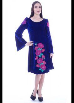 Rochie catifea cu broderie Cold Shoulder Dress, Dresses, Fashion, Embroidery, Vestidos, Moda, Fashion Styles, The Dress, Fasion