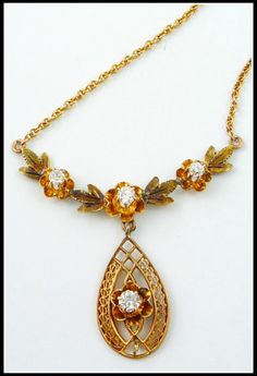 10K Antique Victorian European Cut Diamond Pendant Necklace Lavaliere ($678). Via Diamonds in the Library's jewelry gift guide.