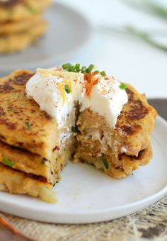 Chive and Cheddar Sweet Potato Cakes.