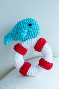 Whale and Buoy Rattle Toy for Children Christmas Bunting, Christmas Lights, Crochet Penguin, Bunting Garland, Amigurumi Toys, Paper Beads, Kids Toys, Whale, Dinosaur Stuffed Animal