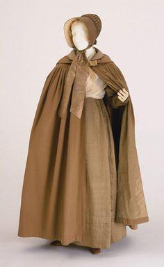 Ensemble for a Quaker Woman (Two Fichus, Bonnet, Cap, Cape, Dress, and Shawl): ca. 1830, American, silk (first fichu), cotton (second fichu), silk (bonnet), sheer net (cap), wool (cape), silk satin (dress), silk (shawl).