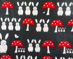 Creative Thursday Fabric - 1 Fat Quarter The Red Thread Bunnies and Toadstools in Dark Grey. $3.85, via Etsy.
