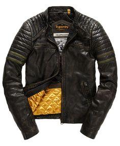 9bae536fa4654 Mens - Endurance Speed Leather Jacket in Worn Black khaki