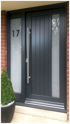 Wonderful Contemporary timber door The post Contemporary timber door appeared first on Home Decor Designs Trends . - May 09 2019 at Porch Doors, Front Door Entrance, House Front Door, House Doors, House With Porch, House Entrance, Barn Doors, Front Door Porch, Entry Doors