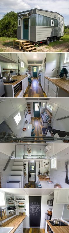 From Austin, Texas-based Reeds Road Home Design is the Falling Leaves, a tiny house built on a triple-axle trailer. The home has industrial modern finishes with painted pine shiplap siding and corrugated metal accents. Best Tiny House, Tiny House Cabin, Tiny House Living, Tiny House On Wheels, Tiny Houses, Home Design, Tiny House Design, Design Design, Cottage Design