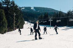 Having a mountainside wedding? Ski or snowboard down the slopes!