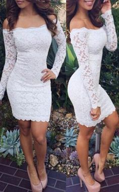 White Prom dresses, Short Prom Dresses,New Arrival Sexy Off Shoulder Long Sleeve Knee Length Lace Cocktail Dresses Short Prom Dresses