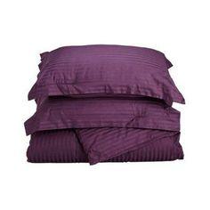 Superior 400 Thread Count Long-Staple Combed Cotton Striped Pillowcase Set Plum - 400SDPC STPL