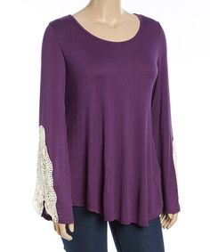 Another great find on #zulily! Purple Embroidered-Sleeve Swing Top - Plus #zulilyfinds  $21.99