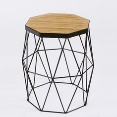 Xaria American Oak and Black Steel Frame Side Table