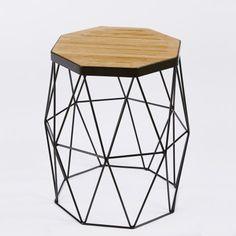Xaria American Oak and Black Steel Frame Side Table