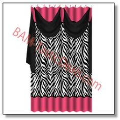ZEBRA Black Pink Shower Curtain With Detachable VOILE SCARF And Matching Fabric Covered RINGS