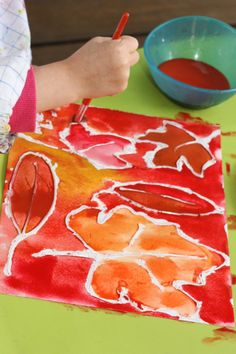 This leaf walk watercolor art activity is the perfect combination of outdoor play and art! Such a fun activity!