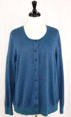 Talbots 1X Cardigan Blue Silver Metallic Button Front Long Sleeves #Talbots #Cardigan #Work