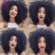 Afro Kinky Curly Full Lace Human Hair Wigs For Black Women 100% Unprocessed…
