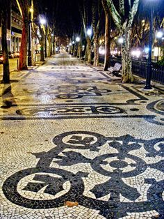 Our hotel was right off this street - Avenida Liberdade / Liberty Avenue (hand made stone pavement, Calçada Portuguesa), Lisbon - Portugal Portuguese Culture, Portuguese Tiles, Portugal Travel, Spain And Portugal, Algarve, Places To Travel, Places To See, Azores, Paving Stones