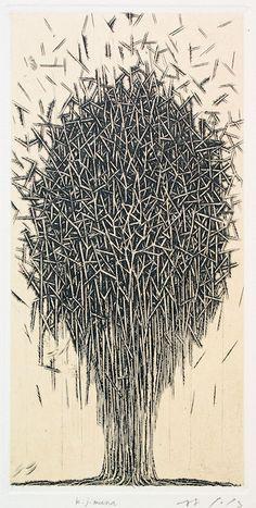 Kijimuna copperplate print with chine collé (engraving) #217 18.5x9.5cmHAYASHI Takahiko 林孝彦 2016