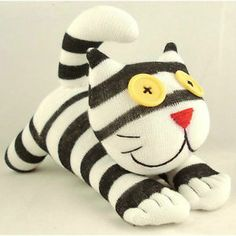 Handmade Sock Monkey Black and White Striped Cheshire Cat Stuffed Animals Toy | eBay