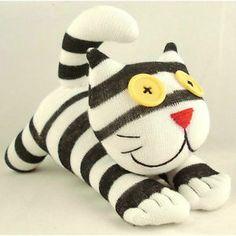 Handmade Sock Monkey Black and White Striped Cheshire Cat Stuffed Animals Toy | eBay
