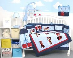 SoHo Fire Trucks Baby Crib Nursery Bedding Set 13 pcs included Diaper Bag with Changing Pad & Bottle Case by SoHo Designs, http://www.amazon.com/dp/B000TV9MMW/ref=cm_sw_r_pi_dp_WxXNqb0WSJ5KT