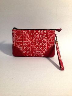Red batik and leather pouch