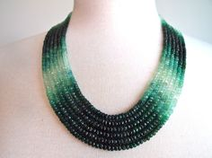 Real Green Emerald Stone Beaded Necklace Gold, Rose Gold, or Silver Emerald Necklace, Emerald Jewelry, Beaded Jewelry, Gold Necklace, Emerald Rings, Ruby Rings, Emerald Stone, Circle Necklace, Lariat Necklace