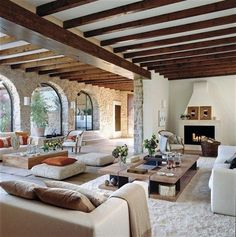 Modern Spanish Home Designs for Elegant Properties Concept: Ceiling. I would suggest playing off the Spanish Colonial architecture but modernizing with furnishings, textiles, etc. House Design, Home, Spanish Living Room, Mediterranean Living Rooms, House Styles, Spanish Decor, Mediterranean Home Decor, Home Interior Design, Rustic House