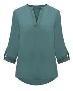 Blusa ML Cuello V Color Solido - RTML225 - tienda online