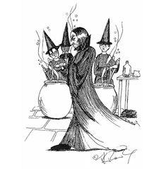 Cours de potion de Severus Rogue, dessin de J.K. Rowling