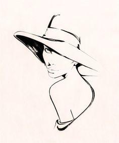 Nuno Da Costa, Contemporary Fashion and Beauty Illustrator (nuno dacosta,girl,hat,sketch)