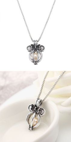 Silver Plated Chain Bowknot Pearl Charms Pendant Necklace Crystal With Gift Box