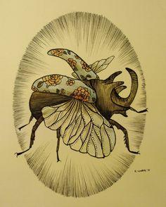 Rhinoceros Beetle Drawing by Rebecca Ladds via Etsy.