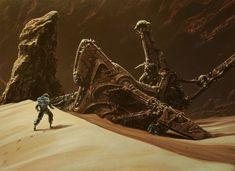 The Derelict Picture (2d, sci-fi, landscape, desert, spaceship)